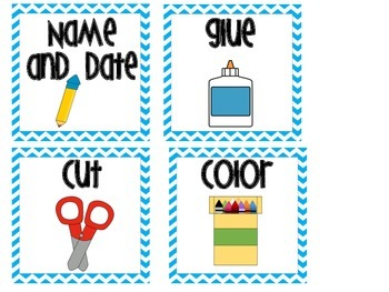 Direction Cards Teal Chevron