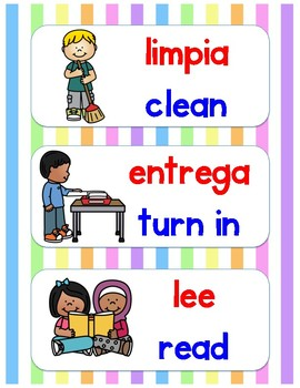 Direction Cards in Spanish and English