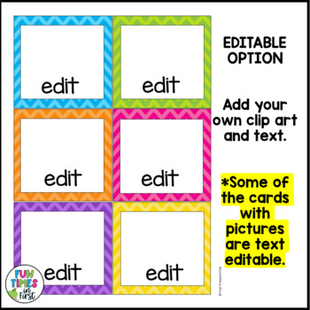 Direction Cards with Pictures {Bright Chevron Theme w/ editable feature}
