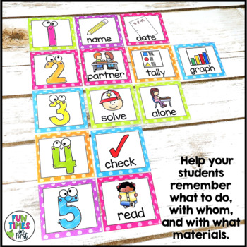 Direction Cards with Pictures {Bright Polka-Dot Theme w/ editable feature}