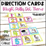 Visual Direction Cards EDITABLE Bright Polka Dot Theme
