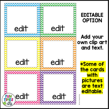 Direction Cards with Pictures {Chevron Theme w/ editable feature}