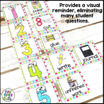 Direction Cards with Pictures {Multi-Polka Dot Theme w/ editable feature}
