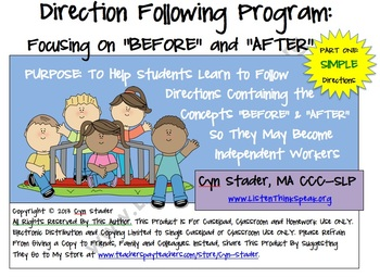 """SIMPLE Direction Following Program: Focusing on """"Before"""" and """"After"""" Part One"""