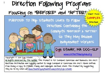 "COMPLEX Direction Following Program: Focusing on ""Before"" and ""After"" Part Two"