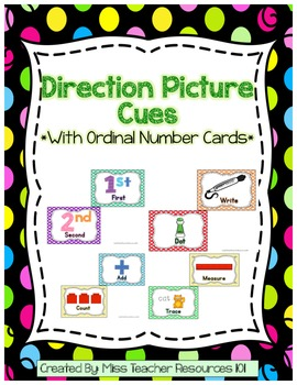 Direction Picture Cues - Colorful Polka Dot Theme