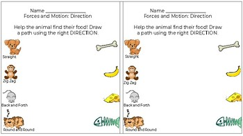 Direction Worksheet -- Forces and Motion