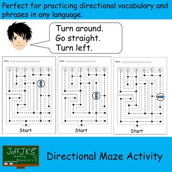 Directional Language Maze - to practice left right go straight turn around