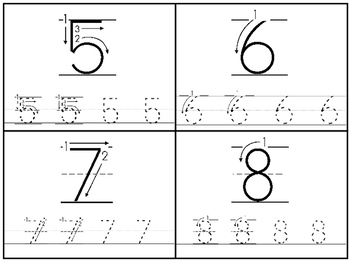 Directional Numbers 1-20 4x5 Tracing Cards
