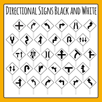 Directional Road Signs Black and White Commercial Use Clip Art Set