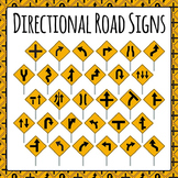 Directional Road Signs Commercial Use Clip Art Set