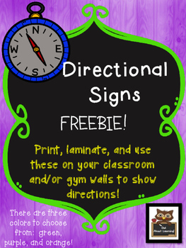 Directional Signs for Your Classroom Wall! *FREEBIE*