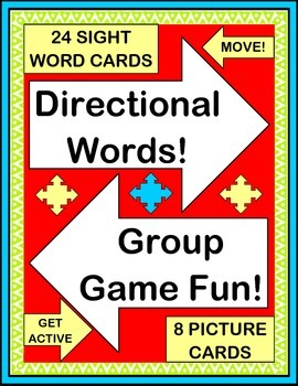 """""""Directional Words!"""" -- Active Group Game, Craft, Song, and 24 Word Wall Cards"""