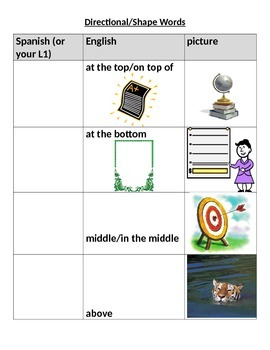 Directional/Positional words & shapes w/pictures and English label