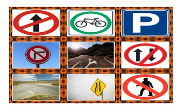Road Signs and Directions Legal Size Photo Card Game