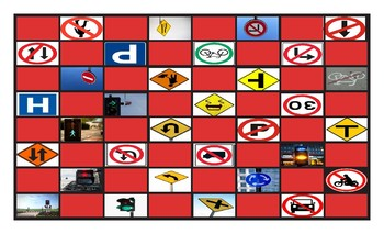 Road Signs and Directions Legal Size Photo Checkerboard Game