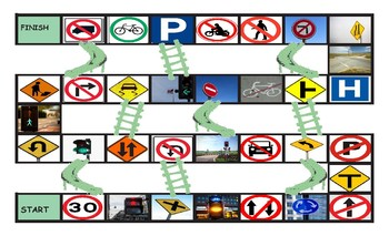Road Signs and Directions Legal Size Photo Chutes and Ladders Game