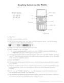 Directions for Graphing Systems of Equations on the TI-83+ Calculator