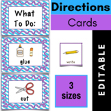 Directions Picture Cards {Editable}