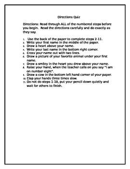 Directions Quiz