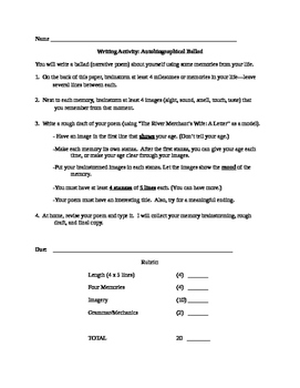 Directions, Rubric, & Brainstorming Sheet for Writing an A