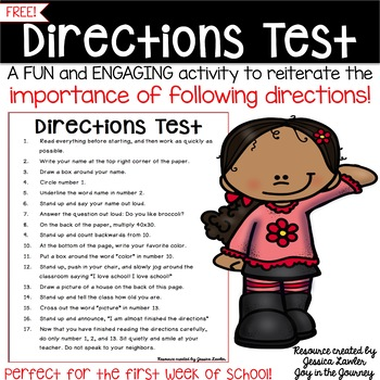 Directions Test Activity FREE