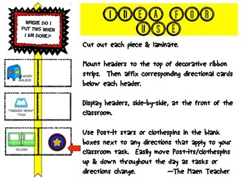 Directions Visual Cue Display Classroom Management Superhero