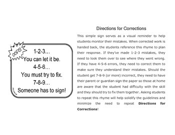 Directions for Corrections