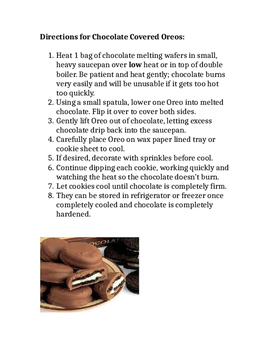Directions for Making Chocolate Covered Oreo Cookies