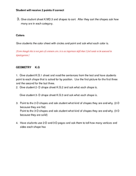 Directions for Math Common Core Assessment