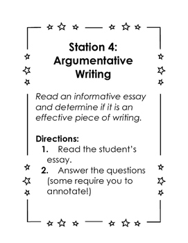 Directions for Modes of Writing Stations for Test Prep