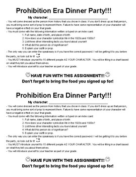Directions for the Prohibition Era Dinner Party