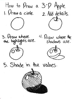 Directions on How to Draw a 3-D Apple with Shading Values