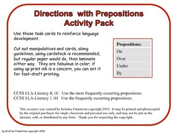 Directions with Prepositions Activity Pack - Red Level - Common Core