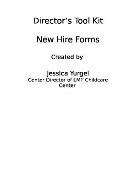 Director Tool Kit: New Hire Forms
