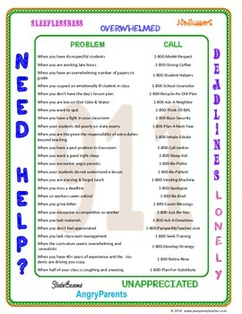 Teacher Humor: Directory of Hotline Numbers for Teachers