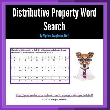 Distributive Property Word Search