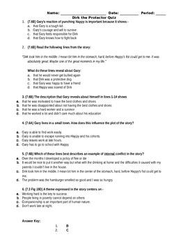 Dirk the Protector Quiz - STAAR Stem Questions