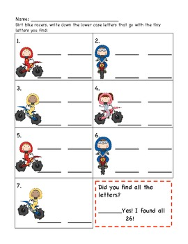 Dirt Bike Racers: A Differentiated Alphabet I-Spy