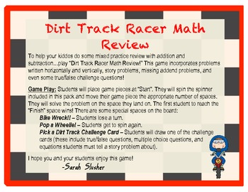 Dirt Track Racers: Math Review