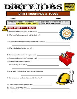Dirty Jobs : Dirtiest Machines and Tools (video worksheet)