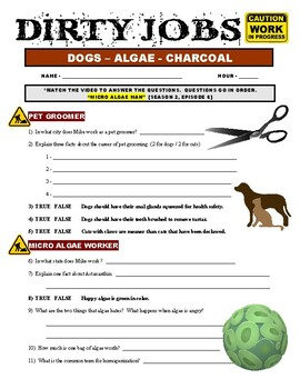 Dirty Jobs : Micro Algae Man (science career video worksheet)