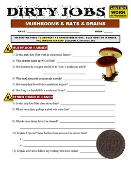 Dirty Jobs : Musroom Farmer (video worksheet)