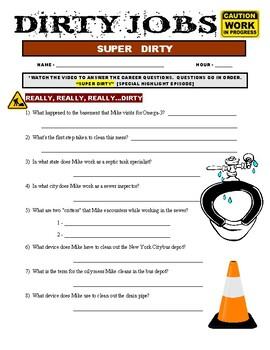 Dirty Jobs: Super Dirty (video worksheet / careers)