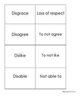 Dis- Prefix Matching Cards