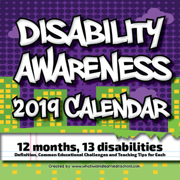 Monthly Awareness Calendar 2019 Disability Awareness 2019 Calendar for Personal Use or PD | TpT