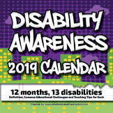 Disability Awareness 2019 Calendar for Personal Use or PD