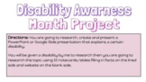 Disability Awareness Project: Student Friendly Verision