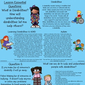 Disability Awareness Social Skills Lesson and Flip Book