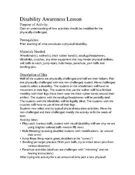 Disability Awareness activities for pe
